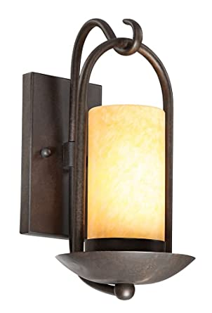 "Candle Wall Light: Onyx Stone Faux Candle 15"" High Espresso Wall Light,Lighting"