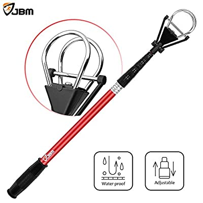 """JBM Golf Ball Retriever Device (6ft Reach, 10' 2'') Automatically Portable Telescopic Golf Ball Pick Up Ball Retriever Scoop Pick Up, 26"""" to 78.5"""" Retracted Length, Stainless Steel Shaft"""