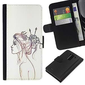 KLONGSHOP // Tirón de la caja Cartera de cuero con ranuras para tarjetas - Neon Girl Dibujo - LG G3 //