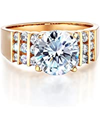 Ladies Solid 14k Yellow Gold Polished CZ Cubic Zirconia Round Cut Engagement Ring with Side Stones