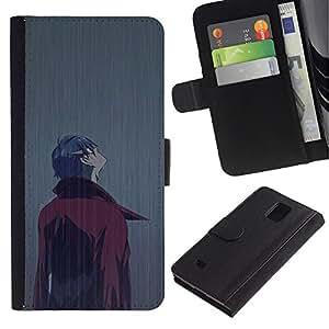 Billetera de Cuero Caso Titular de la tarjeta Carcasa Funda para Samsung Galaxy Note 4 SM-N910 / Man In Rain / STRONG