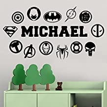 Marvel Wall Decals Personalized Custom Name Logo Comics Heroes Vinyl Decor Stickers MK1639