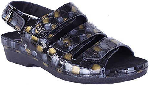 Helle Fashion Comfort Donna 356 - F 3 Sandalo In Velcro Multi Colore Nero