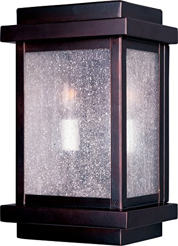 Maxim 4651CDBU Cubes 2-Light Outdoor Wall Lantern, Burnished Finish, Seedy Glass, CA Incandescent Incandescent Bulb , 60W Max., Dry Safety Rating, Standard Dimmable, Fabric Shade Material, 3360 Rated Lumens