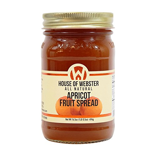 Sugar Apricot Jam - House of Webster Apricot Fruit Spread - No Added Refined Sugar - 16.5 oz