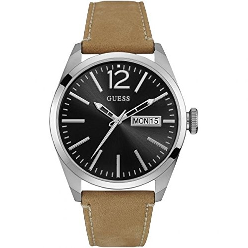 Guess-Mens-Brown-Leather-Band-Steel-Case-Quartz-Black-Dial-Analog-Watch-W0658G7