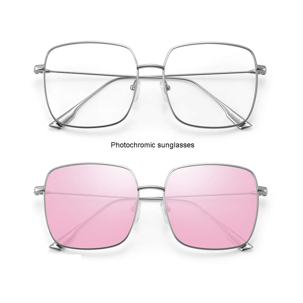 e01f30afc6f Amazon.com  Z HA Photochromic Sunglasses for Women s Square Glasses Frame  Intelligent Adaptive Clear Lens Radiation Protection UV-Proof for Fashion  Trend ...