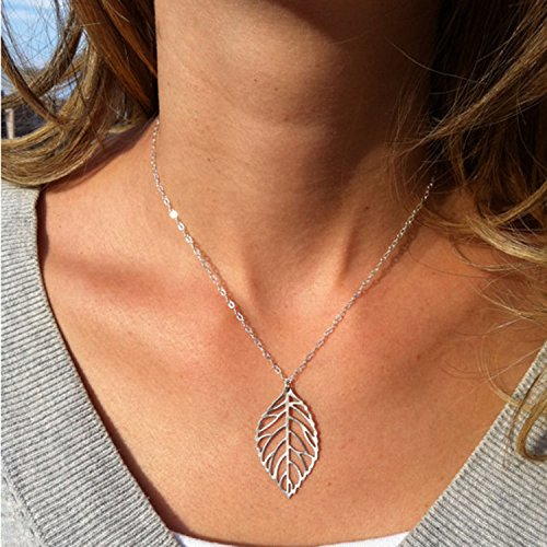 Aukmla Chic Leaf Style Necklaces Jewelry for Women (Silver) for cheap