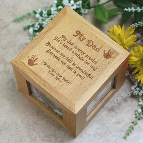 My Dad Photo Cube, Natural Wood, 4.5''
