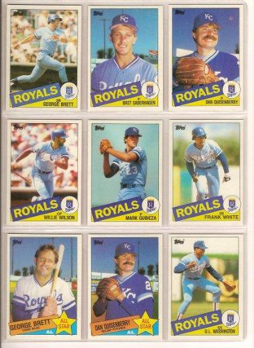 Kansas City Royals 1985 Topps Baseball Team Set (World Series Champions) (George Brett) (Bret Saberhagen Rookie) (Dan Quisenberry) (Frank White) (Mark Gubicza Rookie) (Bud Black) and more