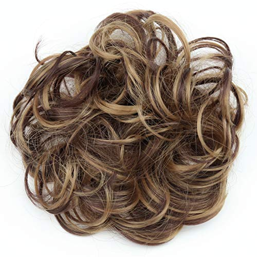 PRETTYSHOP Scrunchie Scrunchy Bun Up Do Hair piece Hair Ribbon Ponytail Extensions Wavy Curly or Messy Verious Colors (brown blonde mix 32H26 G40A)