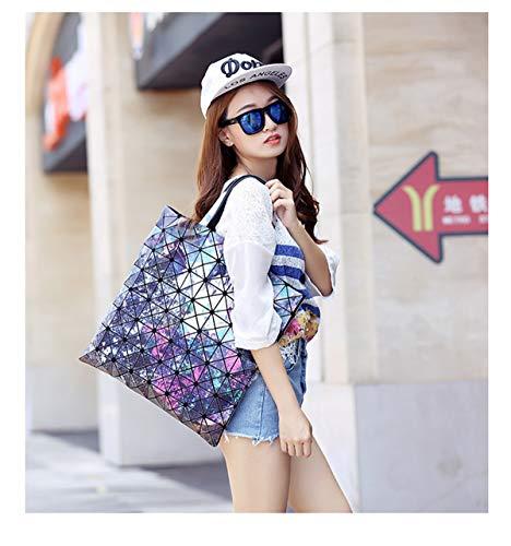 PU a donne Zipper in le tracolla per Handbags Borse Borsa Glossy Geometric Tote pelle Gogoxm blu moda Lattice w78qz6X0xO