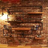 YUEQISONG Iron Racks Industrial Water Pipe Shelves Bar Club Display Stand L160Cm,H150Cm