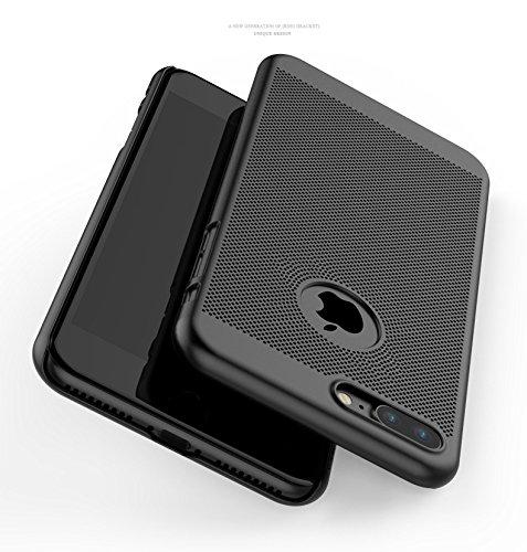 iPhone 7 Funda , iPhone 7 Plus Funda ,color sólido, estilo sencillo,Alta Calidad Ultra Slim Anti-Rasguño y Resistente Huellas Dactilares Totalmente Protectora Caso de Plástico Duro Cover Case(YD-07) Black