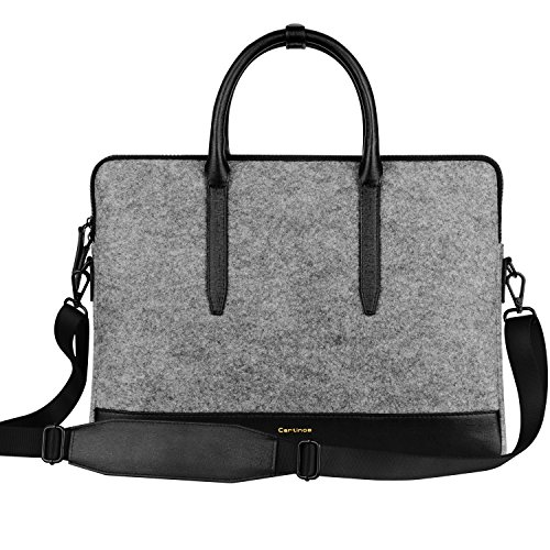 Cartinoe 14 – 15 inch Felt Laptop Tote Bag Shoulder Bag Women Handbag Carrying Briefcase Satchel Bag Sleeve Case for MacBook Air Pro 15″ Retina/ 14-inch HP Asus Acer Samsung Chromebook Ultrabook