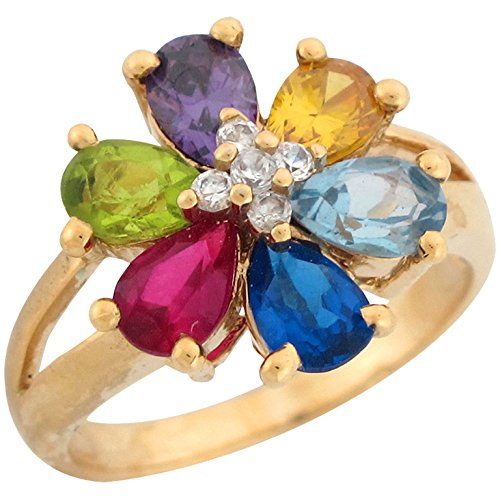 Jewelry Liquidation 10k Yellow Gold Multi-Color CZ Rainbow Flower Design Ladies Cocktail Ring