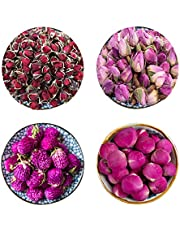 CoolCrafts 4 Bags Dried Flowers (30g/Bag) Natural Dry Flowers Buds Petals for Bath Bombs Soap Making Candle Making Resin