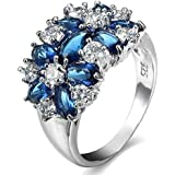 925 Sterling Silver Sapphire White Topaz Ring Women Wedding Engagement Jewelry#by pimchanok shop (9)