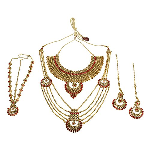 MUCH-MORE Traditional Indian Style Glamorous Polki Indian Necklace Earrings Bridal Set Jewelry (5129 Red LCT)