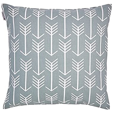 JinStyles Cotton Canvas Arrow Accent Decorative Throw Pillow Cover (Slate Gray, White, Square, 1 Cushion Sham for 16 x 16 Inserts)