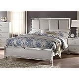 acme furniture 24830q voeville ii padded bed with pu headboard queen matte gold pu u0026 platinum