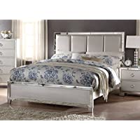 ACME Furniture 24830Q Voeville II Padded Bed with PU Headboard, Queen, Matte Gold PU & Platinum