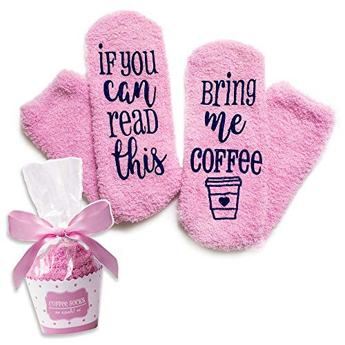 Luxury Coffee Socks with Cupcake Gift Packaging: If You Can Read This Bring Me Coffee Sock - Funny Coffee Lovers Gifts for Women Under 20 Dollars -Top Novelty Christmas Present Idea for Mom ()