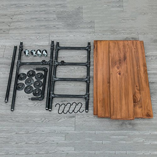 Industrial Portable Kitchen Island on Wheels,Bar Carts for the Home Wine Bar Beverage Coffee Cart,Metal Rolling kitchen carts and islands,Wood and Pipe 3-Tier Butcher Block Island Food Serving Cart by MBQQ (Image #5)