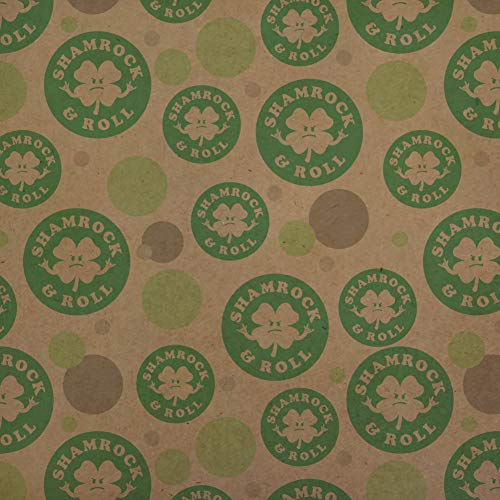 GRAPHICS & MORE Shamrock and Roll Irish Rock Funny Humor Premium Kraft Gift Wrap Wrapping Paper Roll ()