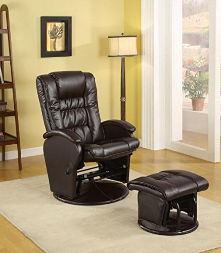 1PerfectChoice Casual Baby Nursing Glider Rocker Recliner Brown Leather-Like Vinyl w/ Ottoman For Sale
