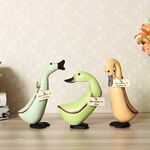 (XOBULLO 3Pcs Wooden Carving Pine Ducks Colorful Statue Animal Miniature Crafts Home Pastoral Style Ornament Handmade)