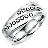 Onefeart Stainless Steel Ring For Men Boy Round Cubic Zirconia Helix Design Gentleman Ring Silver Size 8