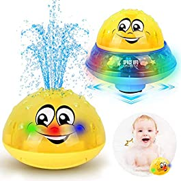 ZHENDUO Bath Toys, 2 in 1 Induction Spray Water Toy & Space UFO Car Toys with LED Light Musical, Automatic Sprinkler…