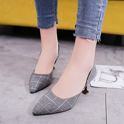 Yukun zapatos de tacón alto Zapatos Altos De Tacón De Aguja De Las Mujeres Acentuados Solos Zapatos Femeninos De La Boca Baja Plaid Fashion Wild Lady Gray