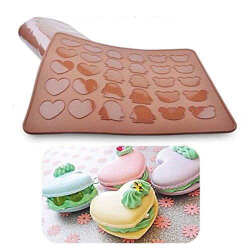Saasiiyo Bakeware Penguin Bear Heart Macaron Silicone Mat Macaroon Cookie Mold Muffin Baking Tray Baking Sheet DIY Chocolate (Riverside Costume Shop)