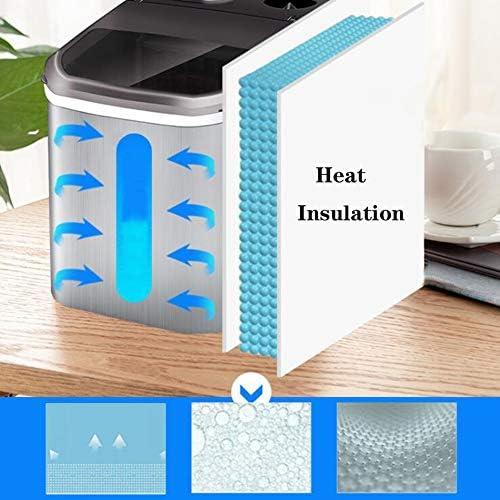 CurDecor Automatisch Eiswürfelmaschine,LCD-Display Eiswürfelbereiter Kommerziell Haushalt,Ice Maker 2 Größen(20kg 24H) Edelstahl