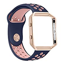 Fitbit Blaze Strap with Frame, Zyra Sport Silicone Soft Band with Ventilation Holes and Black or Rose Gold Stainless Steel Frame for Fitbit Blaze Smart Fitness Watch