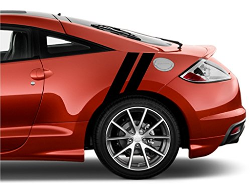 Mitsubishi ECLIPSE Rear Fender Hash Mark Double Bars Racing Stripes 5D Carbon Fiber Vinyl Grand Sport Graphic Decals 4