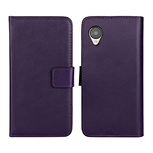 Nexus 5 Case iCoverCase Premium Leather [Card Slot] Wallet Case Kickstand Phone Shell [Book Flip] Cover for LG Google Nexus 5 (Purple) (Nexus 5 Phone Case Purple)