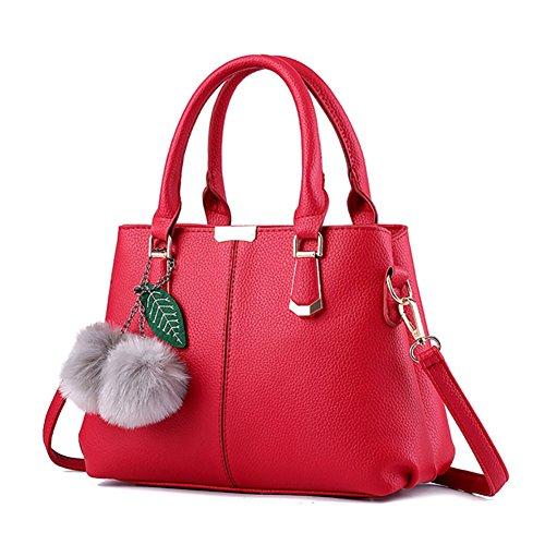 Bag PU rosso Borse Donna borsa Spalla a Tote pelle Donna Borsa Handbag AVERIL Bag Vino mano a in G Shoulder qZwEHE