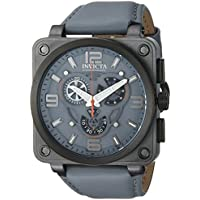 Invicta Men's 'Corduba' Quartz Stainless Steel and Leather Casual Watch, Color:Grey (Model: 23554)