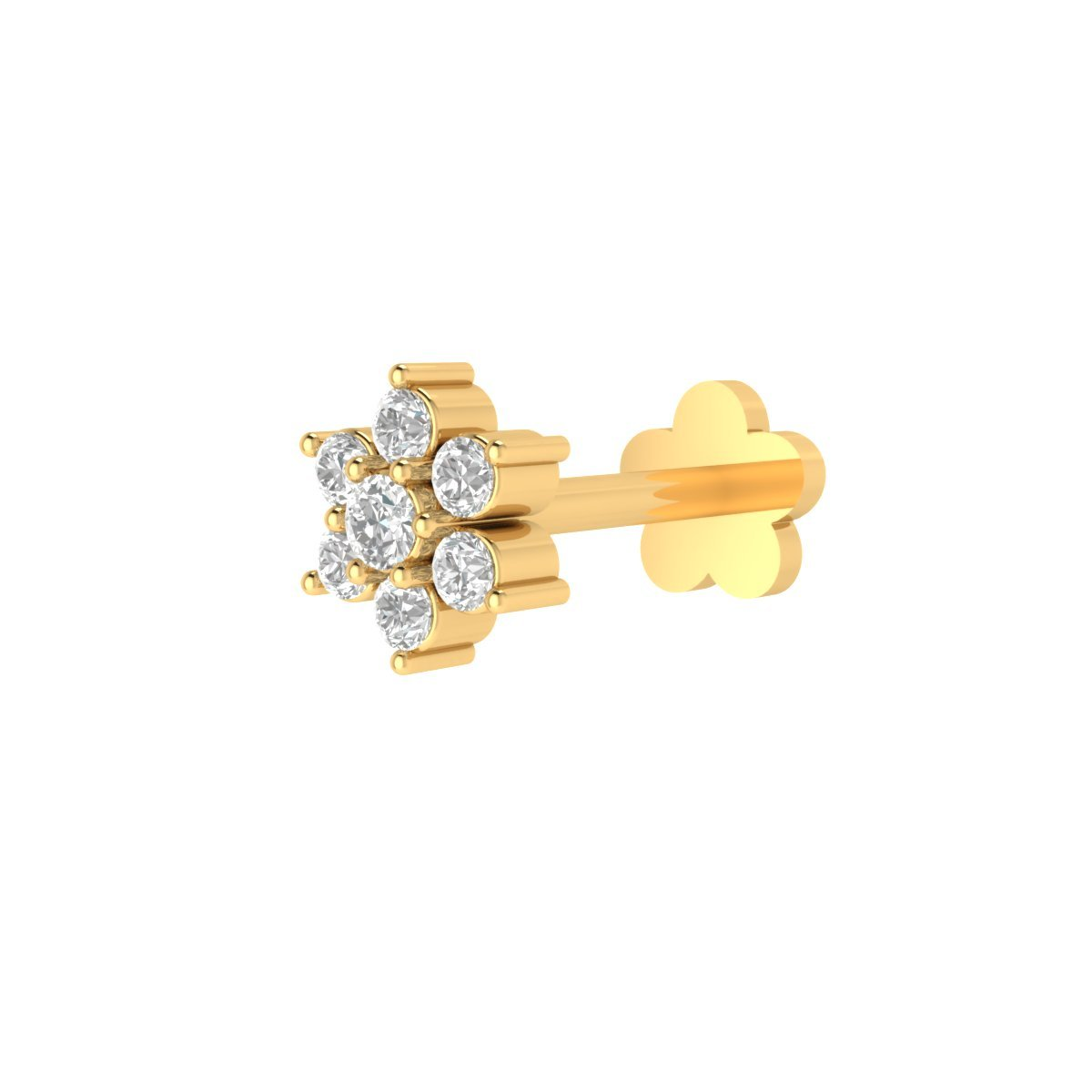 Animas Jewels DGLA Certified 14k Yellow Gold Flower Stud Nose Pin for Women 0.04 Cttw Natural Diamond (G-H Color. SI Clarity) Round Cut 3-Prong Setting. Available in 6 mm & 8 mm Length (6) by Animas Jewels