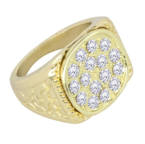 Gold Nugget Design (Classy Nugget Design 14k Gold Tone AAA Cz Hip Hop Bling Pinky Ring (6))