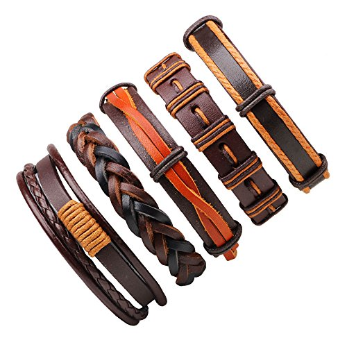 JF.JEWELRY 5-PCS Mixed Stackable Braided Leather Cuff Bracelet for Men And Women,Adjustable