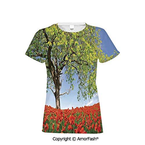 PUTIEN Crew Neck for Ultimate Comfort T-Shirt,Poppy,Landscape of Blooming