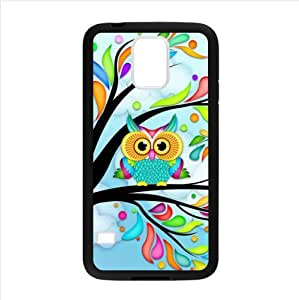 cute owl art,lovely cartoon owls pattern Custom Case for Samsung Galaxy S5 PC case cellphone cover black