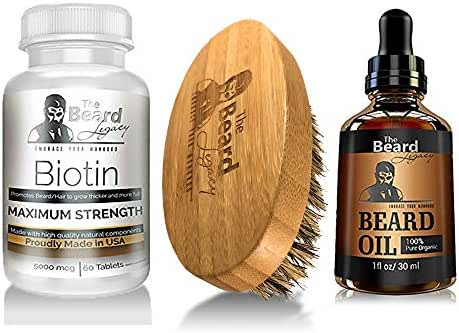 Prime Beard Growth Vitamins Supplement for Men - Beard Brush - Beard Oil Unscented - Thicker, Fuller, Manlier Hair - Pills with Biotin - for All Facial Hair Types and Beard Growth.