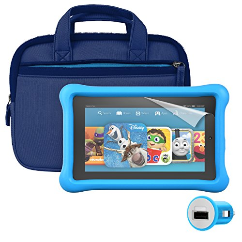 Fire Kids Edition Essentials Bundle including Fire Kids Edition 7 Display Wi-Fi 8 GB Blue Kid-Proof Case Nupro Screen Protector Belkin Car Charger and Verso Sleeve