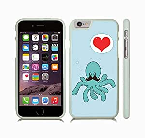 iStar Cases? iPhone 6 Plus Case with Octopus with Mustache in Love, Animated Octopus Design with Heart Bubble , Snap-on Cover, Hard Carrying Case (White)