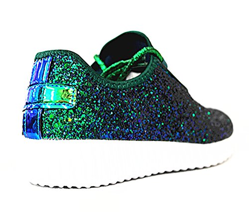 Shoes Jogger Quilted New SF Glitter Green Link 18 Remy Lightweight Forever Sneaker Women's Lace Up 7HzqBngxz